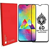 CELLUTION Original 6D Tempered Glass with Curved Edges and 9H Hardness Full Glue Edge to Edge Screen Protection for Samsung Galaxy M20 - Black (2019)