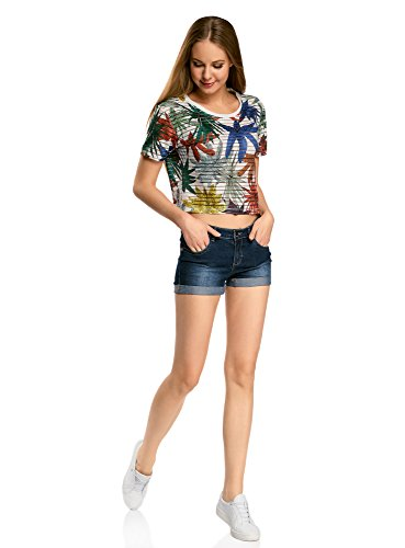 oodji Ultra Damen Kurzes T-Shirt mit Transparenten Streifen Mehrfarbig (1062F)
