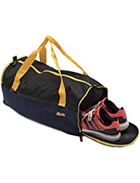 Mufubu Presents Get Unbarred Mens Travel kit Carry on Luggage Handbag for Sports, Gym Flight Cabin 32 LTR Bag with Shoe Compartment (Navy Blue & Black)