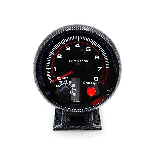 "3 3/4\""Fibra de Carbono fría 0-8000 Medidor de RPM del tacómetro con luz Inter Shift/Velocímetro de Carrera Multímetro Digital Tester"