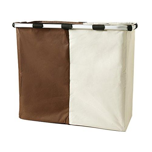 Ihomagic - grande cesta per lavanderia con 2 sezioniper panni chiari e scuri, cestino pieghevole in panno beige&brown