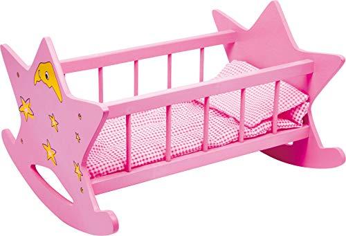 2865 Berceau en bois pour poupées 'Etoile', rose avec lune et étoiles, pour poupées jusqu'à 45 cm, à partir de 3 ans