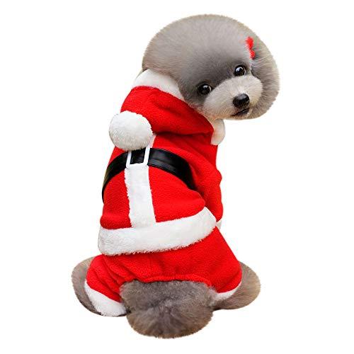 Amphia Haustier Kostüm - Hundekleidung, Kleidung, Geburtstag, Alter Mann,Weihnachtsdekoration Haustier Hund Katze Winter warme Mantel Kostüm Bekleidung(Rot,S) (Alter Mann Winter Kostüm)