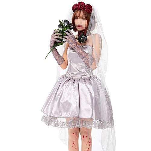 Vampirin Kostüm Rose - kMOoz Halloween Kostüm,Outfit Für Halloween Fasching Karneval Halloween Cosplay Horror Kostüm,Halloween Adult Vampire Cosplay Rote Rose Ghost Braut Kurzen Rock