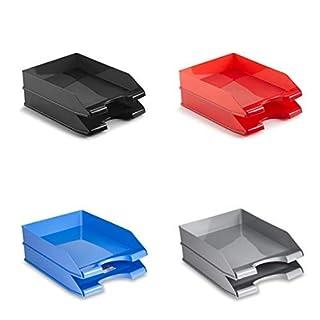 aucune plasticforte Set of 2 Tray Courrier Documents OFFICE Adjustable Stackable plastic Blue - 226