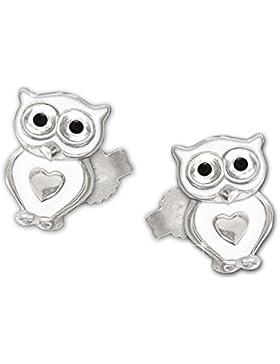 CLEVER SCHMUCK Silberne Ohrstecker kleine Eule 6 x 5 mm weiß lackiert Augen schwarz mit Mini Herz glänzend STERLING...