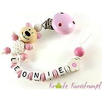 Schnullerkette mit Namen in rosa und weiß mit Teddy Bär und Blume