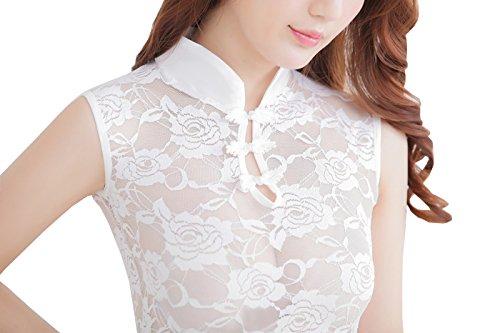 Valin dentelle élégant cheongsam Lady Lingerie, blanc Blanc