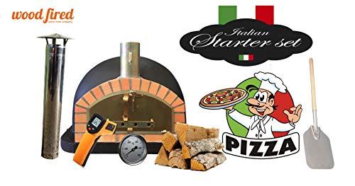 Black Premium Italian Wood Fired Pizza Oven Starter Kit, Orange Arch, Gold Door, 90cm x 90cm