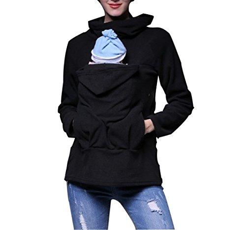 Women's Pregnancy Hooded Sweatshirt Tragejacke pullover für Tragetuch Tragepullover für beide (XXL, Schwarz A) Hooded Womens Sweatshirt