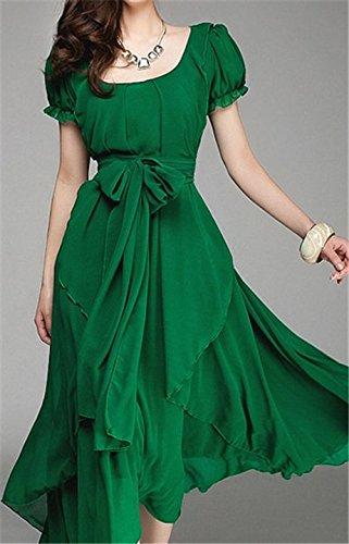 ZEARO Femmes Robe Slim Irrégulier Grande Taille Manche Courte Mousseline de Soie Robes Long Maxi Soirée Cocktail Plage Vert