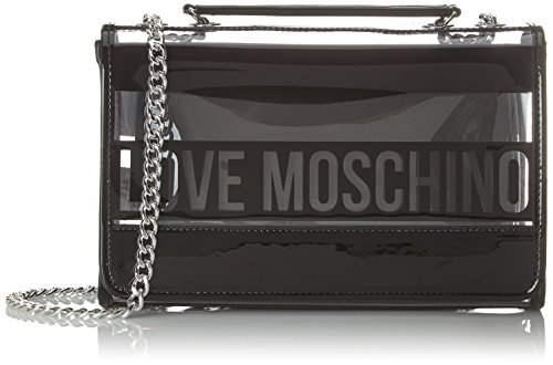 Love Moschino Borsa Pu Trasp. +pu Nero, Sacs portés épaule femme, Noir (Black Transperent), 9x19x28 cm (B x H T)