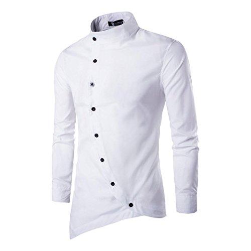 Amlaiworld mens casual irregolare slim fit elegante camicia partito vestito (bianco, xl)