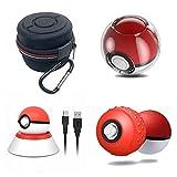 Nintendo Switch Poke Ball Plus Zubehör Kit, Ladestation für Pokeball Plus Controller, Schutzhulle Tasche Silikon Schutzhülle Pokemon Lets Go Pikachu Eevee-Spiel Pokeball