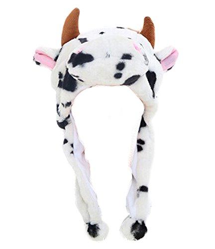 DELEY Unisex Frauen Mädchen Kinder Winter Warm Plüsch Tier Ohrenschützer Hüte Mützen Weihnachten Halloween Kostüm Geschenk Kuh