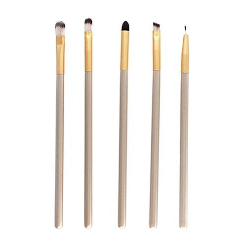 Gespout 5PCS Pinceau de Maquillage Professionnel pour Yeux Or Nylon Poignée en Plastique Fond de Teint Poudre Blush Différents Styles