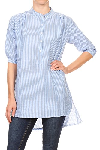 Anna-Kaci Damen Lässige gestreifte Stehkragen Chambray Halbarm Button Up Tunika Shirt Bluse Kleid (Gestreifte Button-up-shirt)