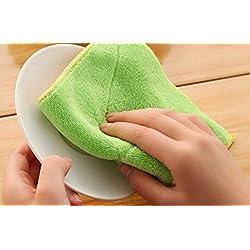 qilene Anti-Fett Gericht Tuch Bambus Fasern Waschen Handtuch reinigen abwischen Rags für Küche (gelb + grün)