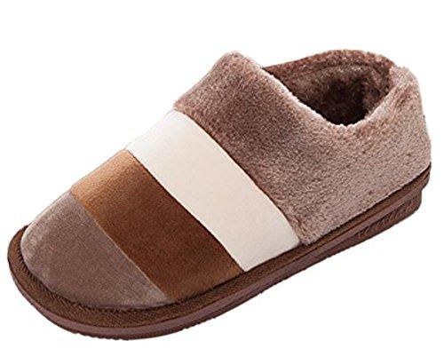 Microsuede Schuhe (Minetom Damen Herren Winter Herbst Warm Hausschuhe Baumwolle Pantoffeln Innenschuhe Anti Rutsch Slippers Kaffee EU 40-41)