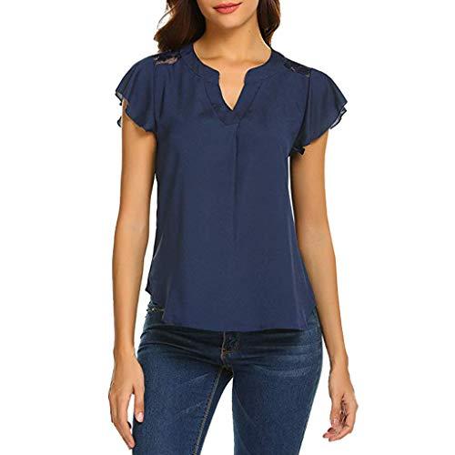 Deloito Damen Beiläufig Oberteile V-Ausschnitt Kurzarm Shirts Bluse Chiffon Spitze Panel Rüsche Hemden Tunika Tops (Marine,Large)