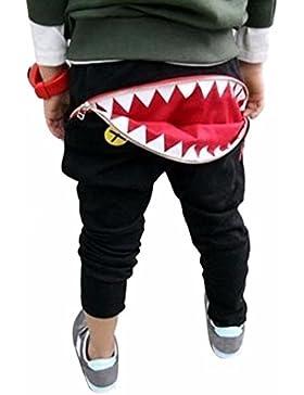 LCLrute New Mode Kinder Kinder Jungen Mädchen Zipper Shark Zähne Harem Hosen