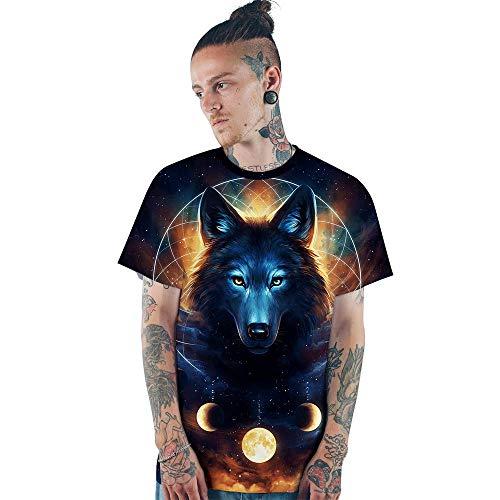 T-Shirts Sommer Raum Wolf Persönlichkeit Trend T-Shirt Männer Und Frauen Paare Wilde Atmungsaktive Mesh Kurzarm-Shirt 2XL Schwarz