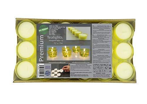 Premium 7 a 8 ore tempo di combustione giallo coppa trasparente Tea Lights 100% eco-friendly lumini, colore bianco, confezione da 72 candele luci notturne di alta qualità in cera di soia