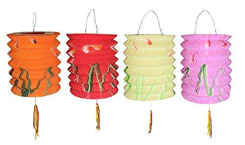 lantern Lot de 12 lampions Nouvel An chinois de 10 cm de diamètre et de couleurs assorties