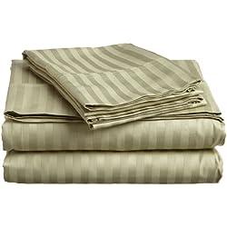Impressions Superior - Juego de sábanas 152 x 203 cm, de algodón de 400 hilos, color verde salvia a rayas, 4 piezas