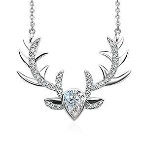 """J.Rosée Collana con ciondolo grande argento 925 collanine argento donna 3A Zircon """"Corno ramificato di cervo"""" regalo di san valentino parure gioielli"""