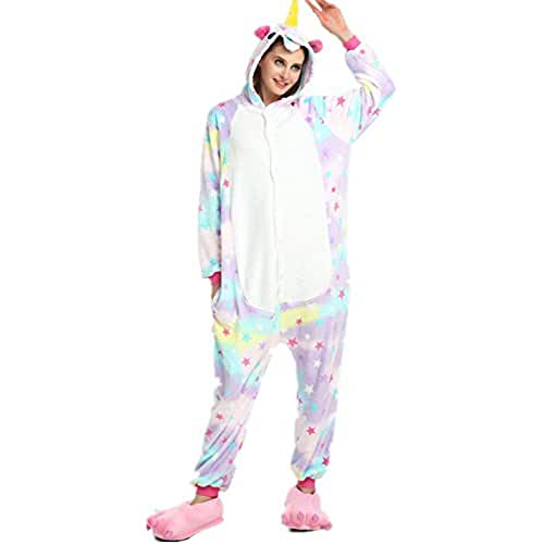 Kigurumi Pijamas Unisexo Adulto Unicornio Cartoon Animal Novedad Navidad Pijama Cosplay Disfraces Capucha Invierno Franela (Size S for 148-160CM, Estrellas)