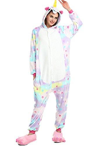 Imagen de kigurumi pijamas unisexo adulto unicornio cartoon animal novedad navidad pijama cosplay disfraces capucha invierno franela size s for 148 160cm, estrellas