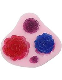 Auket 4 Taille de fleur de Rose Gâteau Fondant Sugarcraft de décoration de gâteau de moule de silicone # 135