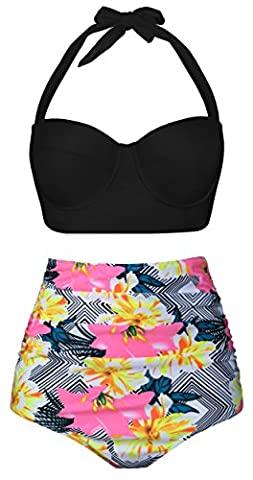 Angerella Women Vintage Black Underwire High Waisted Swimsuit Floral Print Bottom Bikini, Black-1, UK14-16=Tag Size 2XL