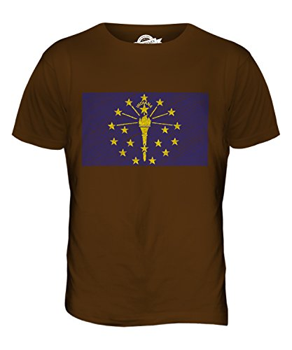 CandyMix Bundesstaat Indiana Kritzelte Flagge Herren T Shirt Braun