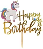 LIGHTER HOUSE Imported Happy Birthday Unicorn Gold Acrylic Topper (02 Pcs.)