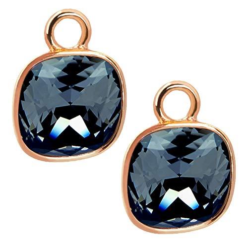 Charm Anhänger 2 Stück Rosegold Graphite 925 Sterling Silber für Creolen Swarovski Kristalle NOBEL SCHMUCK®