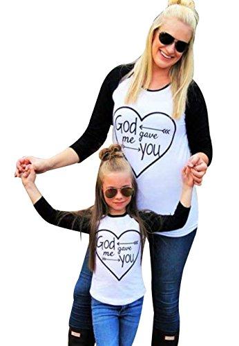 4 Kostüm Großbritannien Alte Halloween Jahre (OMZIN Frauen Mutter&Tochter Matching Geschenk Schwarz&Weiß T-Shirt)