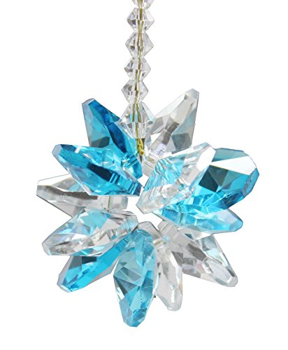 liuanan Kronleuchter Kristalle Schneeflocke Anhänger Home Ornament, zum Aufhängen Chakra Cascade Suncatcher, Meerblau, 16 cm (Schneeflocke Suncatcher)