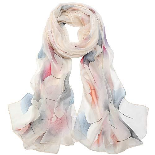 Seidenschal Damen Stola Schal 100 Seiden Tuch Groß Seidentuch Anti-Allergie XXL 180 * 110cm (Große Stola - Weiß) MEHRWEG