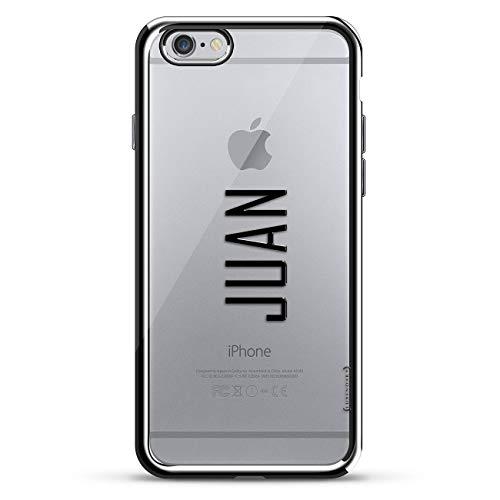 Luxendary Designer-Schutzhülle für iPhone 6/6S Plus, 3D-Druck, modisch, hochwertig, Chrom-Umrandung, Name: Juan, MODERN Font Style, Silver Name: Juan - Modern Font Style