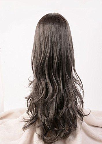 horbous 65cm/25inch Hochwertige Perücke Damen natur lange Ohrringe Fransen grau Perücke für Cosplay für Kostüm