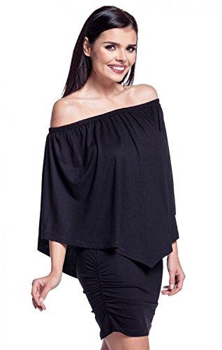Zeta Ville - Robe fourreau encolure bardot double couches dessin - femme - 293z Noir