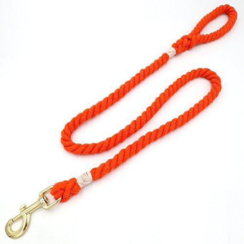bt natürlicher, Weicher Baumwolle Seil Hund Leine, nautisches Puppy Pet Leine Seil Hundeleine, 122cm, Orange ()
