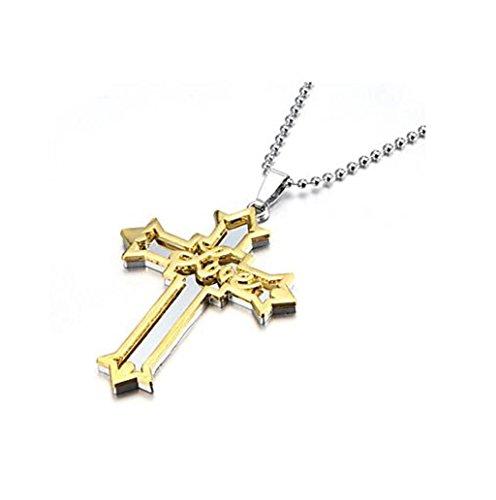 MAJIYUN amore in lega di zinco di spessore oro argento collana pendente Crocifisso Croce , one size