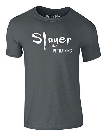 Brand88 - Slayer in Training, Erwachsene Gedrucktes T-Shirt Dunkelgrau/Weiß