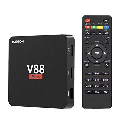 Yagala V88Mars Android 7.1TV-Box mit 1GB/8GB Rockchip RK3229Quad Core Mini TV-Box Unterstützung 4K H.265DLNA 3D 2,4GHz WiFi HDMI