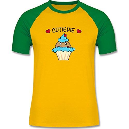 Comic Shirts - Cutiepie - zweifarbiges Baseballshirt für Männer Gelb/Grün