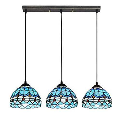 Durchmesser Flush Mount Decke Leuchte (Vintage 3-Licht Tiffany Style Decke Anhänger Leuchte Glasmalerei Meer blau Pendelleuchte für Bar Veranda Eingang Kronleuchter,Longtop)