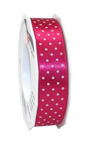 Präsent 3432520-606 - Cinta de tela (20 m de 25 mm de ancho), diseño de lunares, color rosa y blanco
